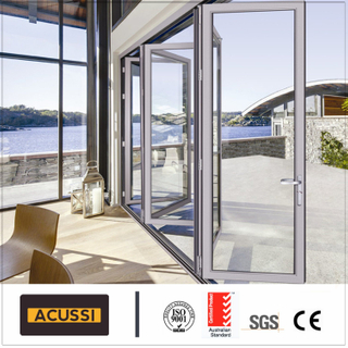 Exterior Heavy Bi-Fold Door Anti-Theft Aluminum Bi Folding Door with Double Tempered Glass