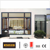 Aluminium Wooden Grain Design Broken Bridge Casement Window for Asia Africa Market