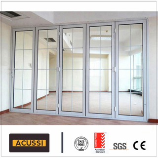 Exterior Strong Double Glazing Aluminum Bi Folding Door with Double Glass
