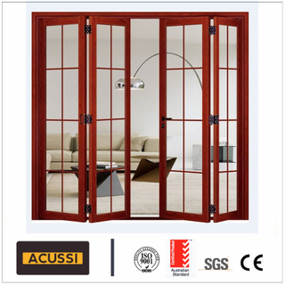 Red Cherry Wood Grain Aluminium Folding Door with Grills Decoration for House